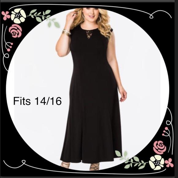 Ashley Stewart Dresses Plus Size Lace Inset Maxi Dress Poshmark